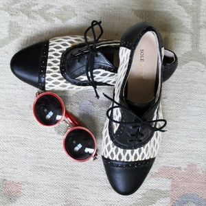 Sole Society lace and leather B&W oxfords